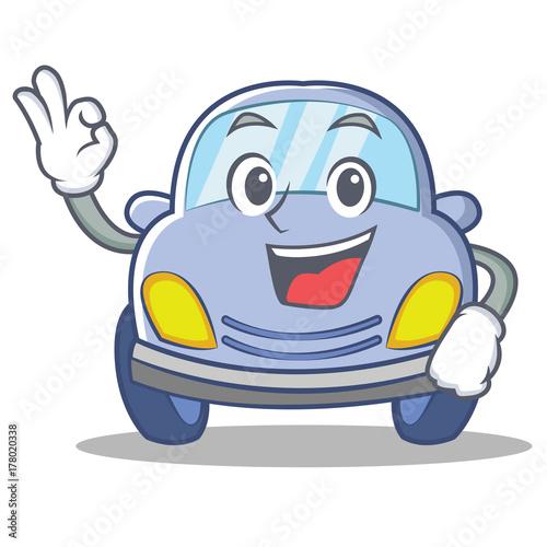 Staande foto Cartoon cars Okay cute car character cartoon