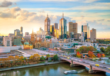 Melbourne City Skyline At Twil...