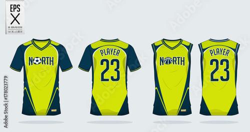 8a4059627 Blue and green t shirt sport design template for soccer jersey ...