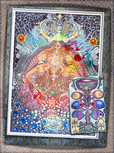 Foto op Aluminium Imagination Ayahuasca,pianta etnica e magica,collage con segni e simboli
