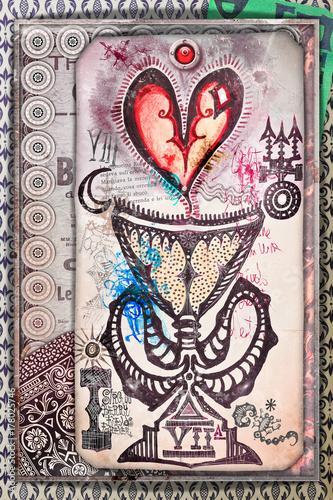 Photo sur Aluminium Imagination Collage con coppa,graal e cuore