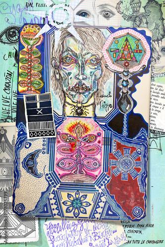 Foto op Aluminium Imagination Collage con sciamano,incantesimi,simboli e segni esoterici