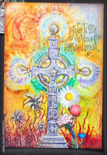 Papiers peints Imagination Collage,segni e simboli esoterici con croce celtica