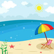Sunset Beach Landscape - Lounge chair with Umbrella vector Illustration, Holiday season summer background