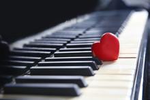 Red Heart On Piano Keys, Closeup