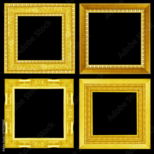 Fototapeta collection ocollection of Gold vintage picture and photo frame isolated on black backgroundf silver vintage picture and photo frame isolated on white background obraz na płótnie