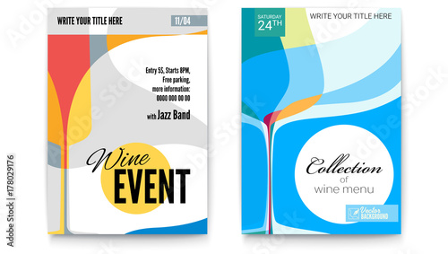 Obraz Template for Cocktail Party, Wine festival event or menu covers, A4 size. Vector template of poster, design layout for brochure, banner, flyer. Posters design with abstract graphic isolated on white - fototapety do salonu