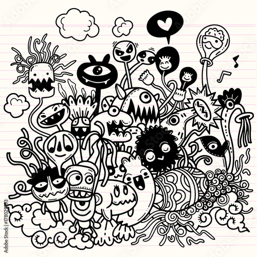 Vector illustration of Cute hand-drawn Halloween doodles фототапет