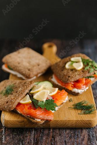 Staande foto Snack sandwich with salmon