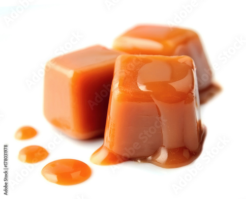 Caramel candies  on a white background.