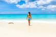 Girl at Grote Knip beach, Curacao, Netherlands Antilles - paradise beach on tropical caribbean island