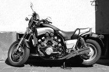 Motorcycle In Black And White