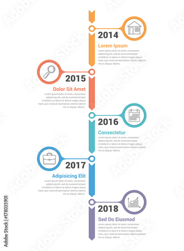 Vertical Timeline Infographics Wall mural