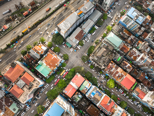 Foto op Plexiglas Barcelona Aerial shot,view from the drone on the road junction and city of Yangon,Myanmar