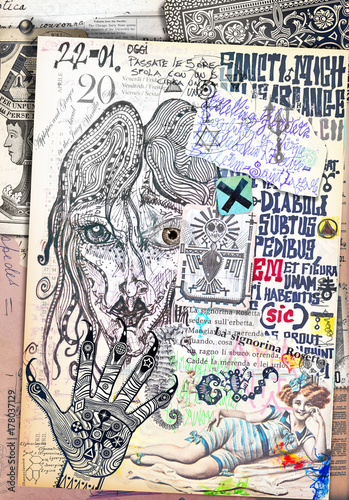 Tuinposter Imagination Collage e disegni con simboli e elementi etnici,esoterici e astrologici