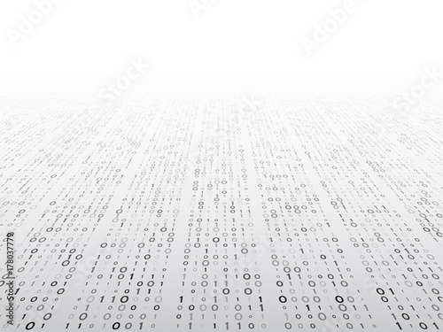 Fotografía  Abstract perspective binary code on a grey background