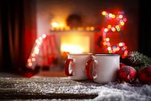 Christmas Time And Mug On Desk