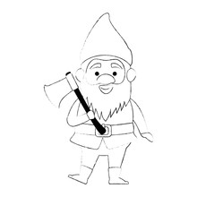 Cute Gnome With Woodcutter Ax Character Vector Illustration Design