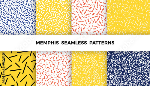 Fotografia  Set of bright geometric memphis patterns with wavy lines, triangles, circles, zig zags