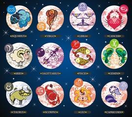Fototapeta Znaki Zodiaku Set illustration with cartoon zodiac signs
