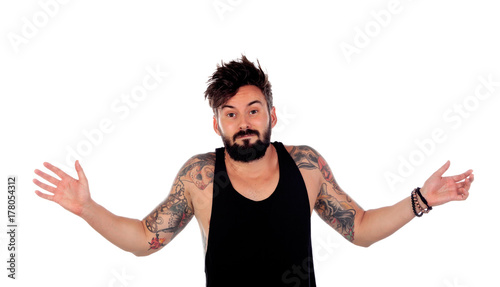 Photo Handsome guy with tattoos apologizing