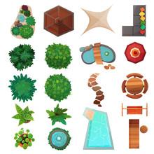 Landscape Design Top View Set