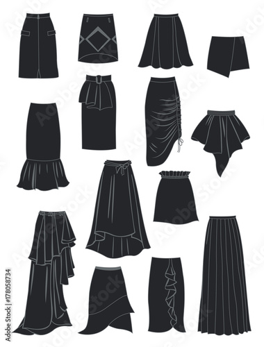 Silhouettes of skirts with asymmetry and folds Wall mural