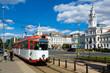 Trams near Arad city hall, Romania