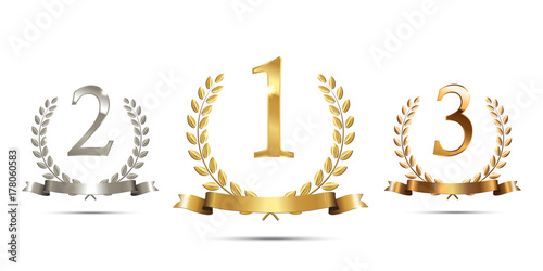 Foto Golden, silver and bronze laurel wreaths with ribbons and first, second and third place signs isolated on white background