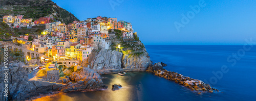 Tuinposter Liguria Manarola village one of Cinque Terre at night in La Spezia, Italy