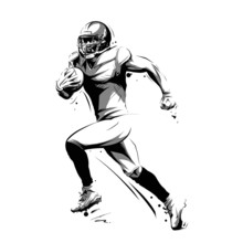 American Football Player Running With Ball