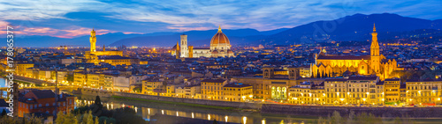Panoramic view of Florence city skyline at night in Tuscany, Italy