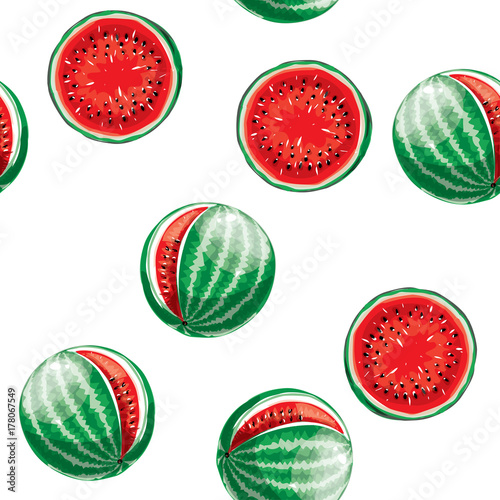 Cotton fabric Watermelon pattern. Seamless vector background.