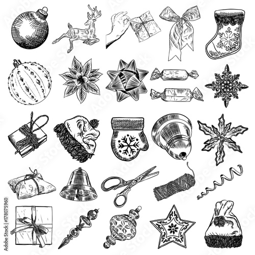 Christmas Icons Set With Decorations Deer Santa Claus Hat Mitten Jingle Bell Plants Scissors Wrap Boxes With Bows Sock Candy Holiday Hand Drawn Sketch Collection Diy Designs Vector Buy This Stock
