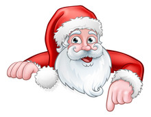 Santa Cartoon Pointing Down Fr...