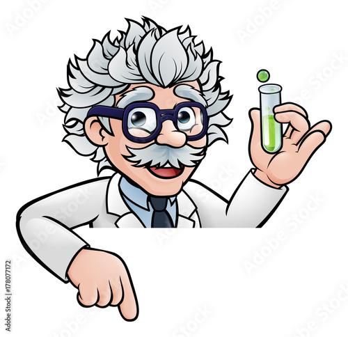 Stampa su Tela Scientist Cartoon Character Holding Test Tube