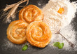 canvas print picture - Bakery background – home made cheese pie on black board