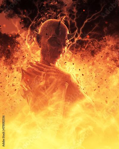 3D Illustration Demon Woman Burns In A Hellfire Tablou Canvas