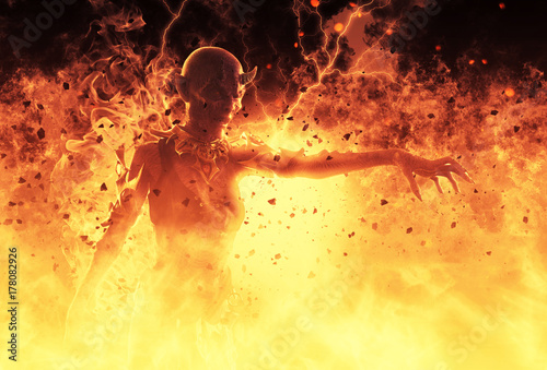 3D Illustration Demon Woman Burns In A Hellfire Fototapet