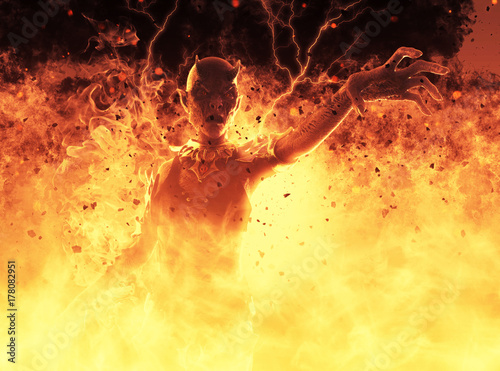 3D Illustration Demon Woman Burns In A Hellfire Tablou Canvas