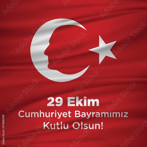 Plakat ilustracji wektorowych 29 ekim Cumhuriyet Bayrami kutlu olsun, Republic Day Turkey. Tłumaczenie: 29 października Dzień Republiki Turcji i święto narodowe w Turcji szczęśliwy urlop. grafika dla elementów projektu