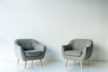 Two Gray Armchairs