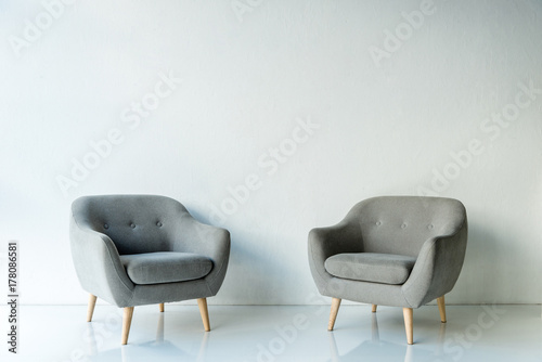 Fotografie, Obraz  Two gray armchairs