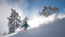 A Snow Covered Skier Races Down An Off-piste Area In The Zauchensee Ski Region, Austria.