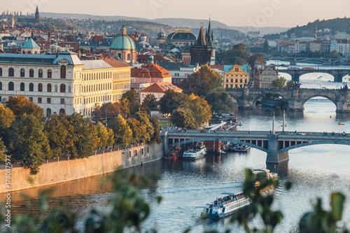 View of Charles Bridge and Vltava river in Prague, Czech Republic Poster