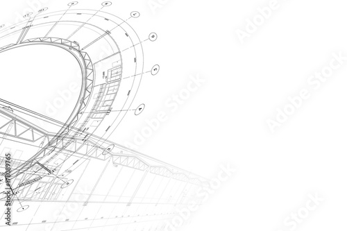 Fotografie, Obraz  Background -architectural drawing of industrial building