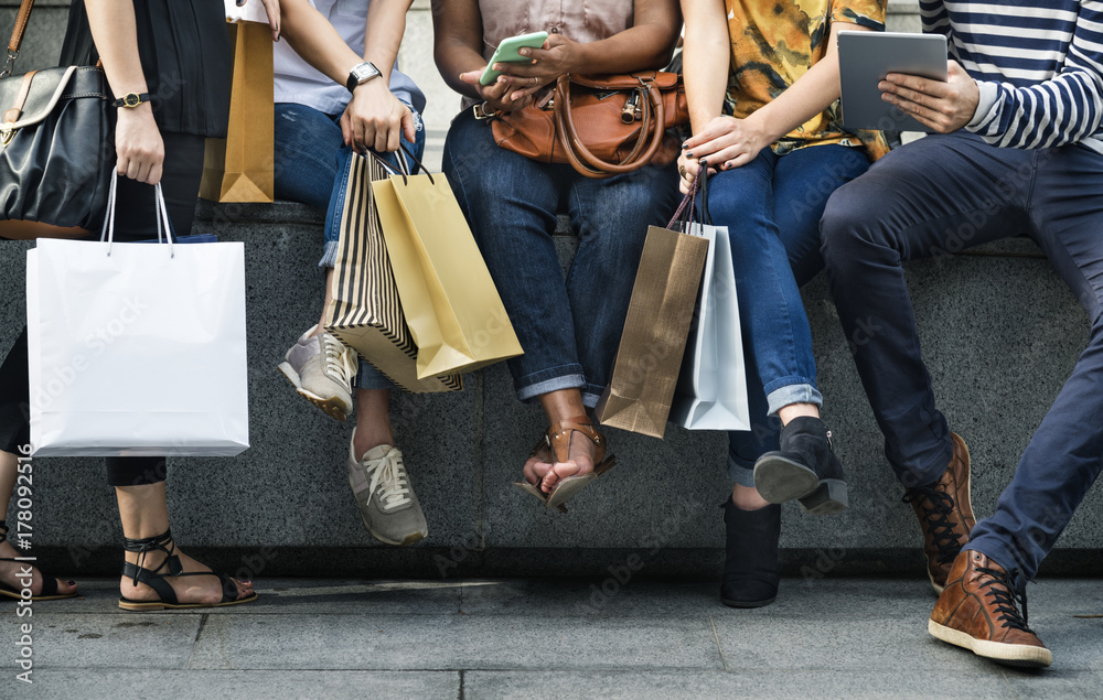 Fototapeta Group Of People Shopping Concept