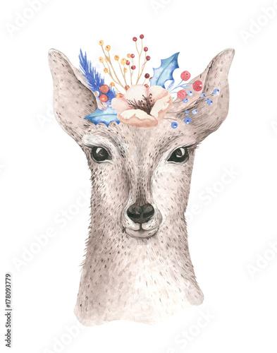 wesolych-swiat-akwarela-karty-z-fawl-dziecko-jelenie-szczesliwego-nowego-roku