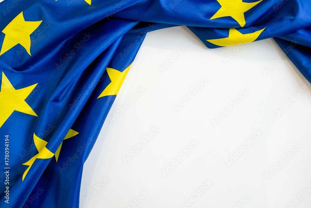 Fototapeta Fabric texture flag of European Union