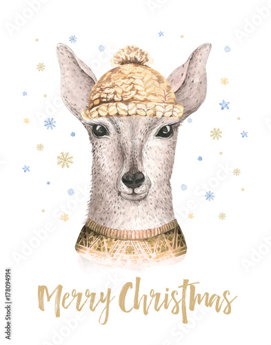 merry christmas watercolor card with fawl baby deer happy new year lettering posters nursery